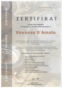 Train the Trainer - Performance Trainer Alchimedus