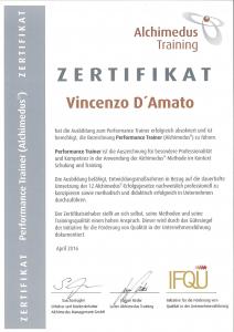Zertifikat Performance Trainer Alchimedus